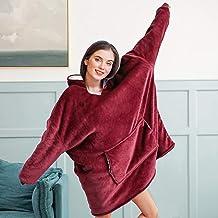 mit Kapuze Damen-Poncho einfarbig warm und flauschig 78,7/cm lang Einheitsgr/ö/ße