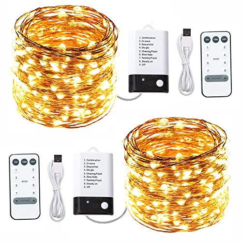 ACDE 2 Stück LED Lichterketten 10 Meter 100 LED USB Betrieb/Batteriebetrieb 2 Modus, Wasserdicht Kupfer Drahtlichterkette mit Fernbedienung Timer-Warmes Gelb