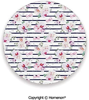 Spring Bouquets on Stripes Orchid Peony Bell Flowers Feminine,Absorbent Ceramic Coasters For Drinks Indigo Pink Reseda Green,3.9×0.2inches(6PCS),Protect Furniture From Coffee Or Tea