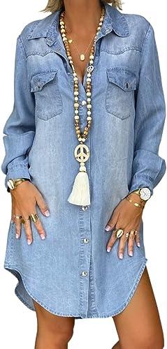lowest Y2K Women Denim Shirt Dresses Long Sleeve Distressed Denim Dress outlet sale Button Down V wholesale Neck Casual Tunic Tops sale