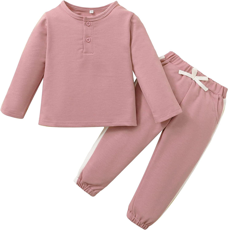 Toddler Boy Girls Solid Pants Set Baby 2Pcs Long Sleeve Top Pant Set 12-24M/2-5Y