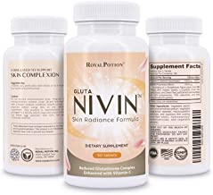 NIVIN Max Potency Reduced L-Glutathione Complex 1500mg Skin Whitening & Lightening Pills All Antioxidants w/ Alpha Lipoic Acid, Vitamin C, Milk Thistle, L-Cysteine, Green Tea Extract | 60 Tablets