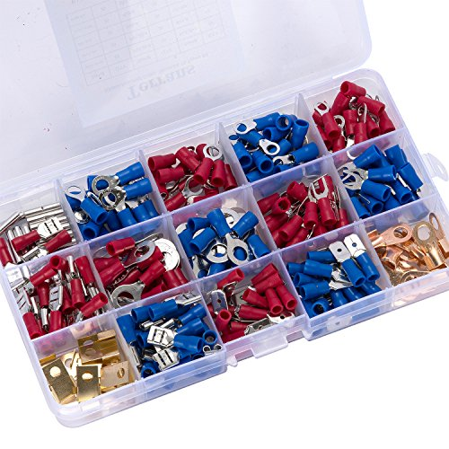 Terrans 300 Pcs Electrical Wire Terminals Crimp Connectors, Mixed Assorted Lug Kit Insulated Wire Connector Crimp Terminal Butt Spade Fork Ring Set