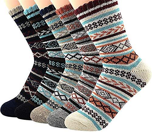Century Star Calcetines atléticos para mujer patrón de punto calcetines de lana de invierno calcetines de cachemira de corte redondo calcetines cálidos y suaves - - Talla única