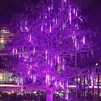 Halloween Meteor Shower Rain Lights, Falling Rain Lights 30cm 8 Tubes 248 LED String Lights, Waterproof Cascading Lights for Indoor Outdoor Party Christmas Tree Decorations Meteor Lights (Purple)