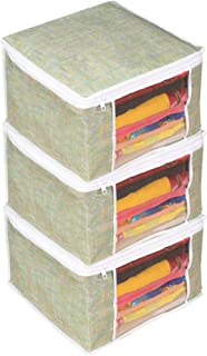 PrettyKrafts Saree Cover Set of 3 Large/Jute Finish/Wardrobe Organiser/Clothes Bag_GreenLarge