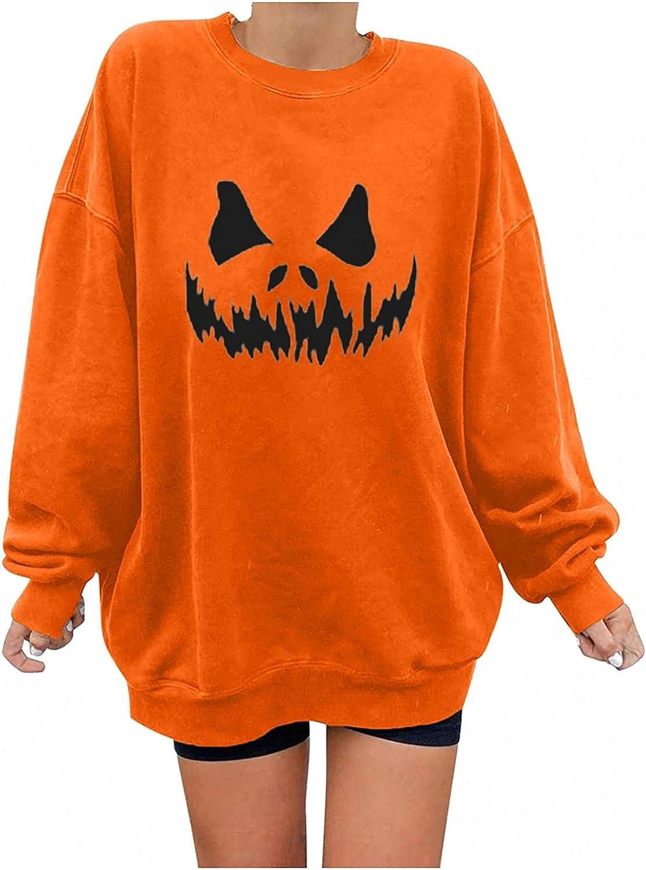 Womens Halloween Shirts Long Sleeve, Womens Long Sleeve Skeleton Pumpkin Print Oversized Shirts Crewneck Pullover Tops