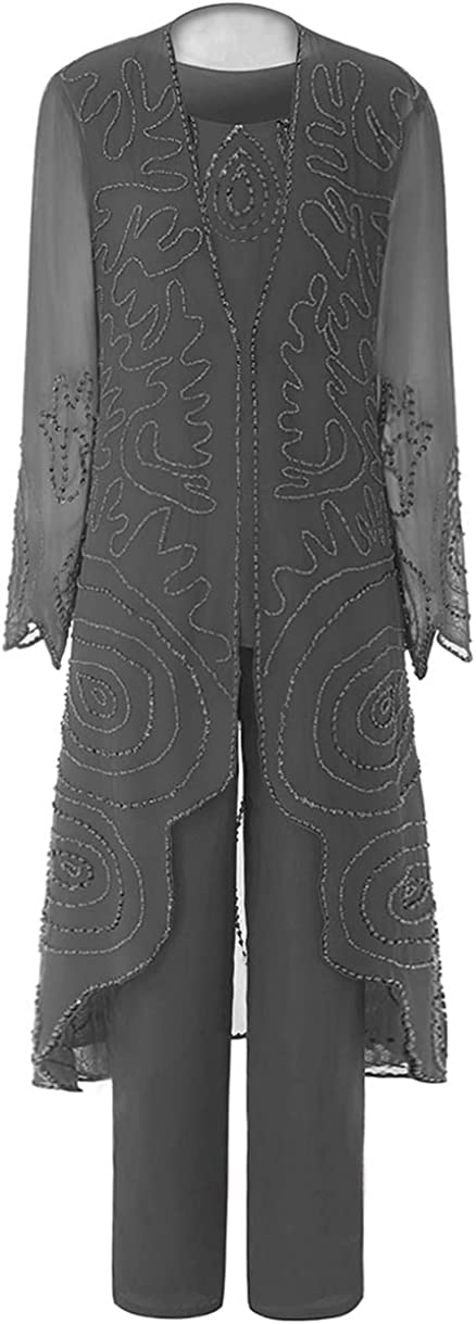 Zeattall Women's Elegant Chiffon Mother of The Bride Dress Pants Suits with Jacket Beaded Formal Evening Gwon