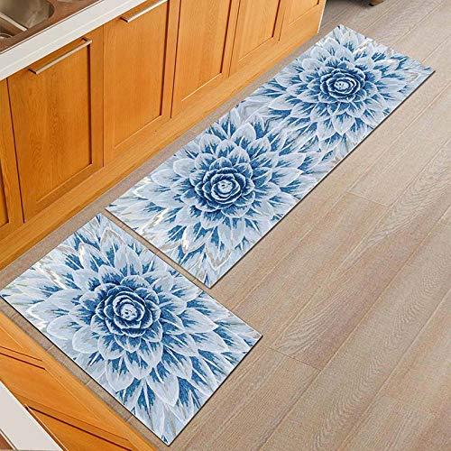 OPLJ American Country Style Flower Küchenmatte Staubdicht Esstisch Teppich Anti-Rutsch-Eingang Fußmatte Outdoor Teppich A13 40x120cm