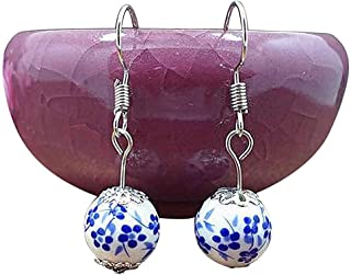 Iumer Vintange Ethnic Ceramic Bead Earring Blue and White Porcelain Earrings for Women Jingdezhen Ceramic Jewelry,Ancient blue and white