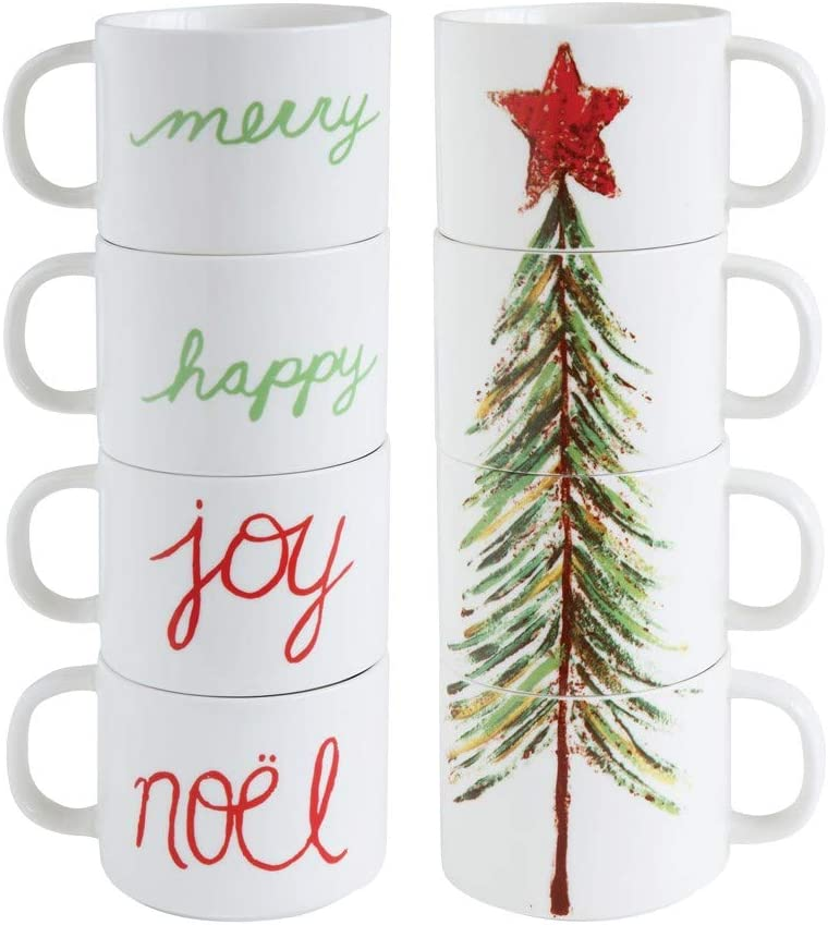 Set of quality assurance 4 Stacking Holiday Mugs with Christmas âElegant Words and Tree