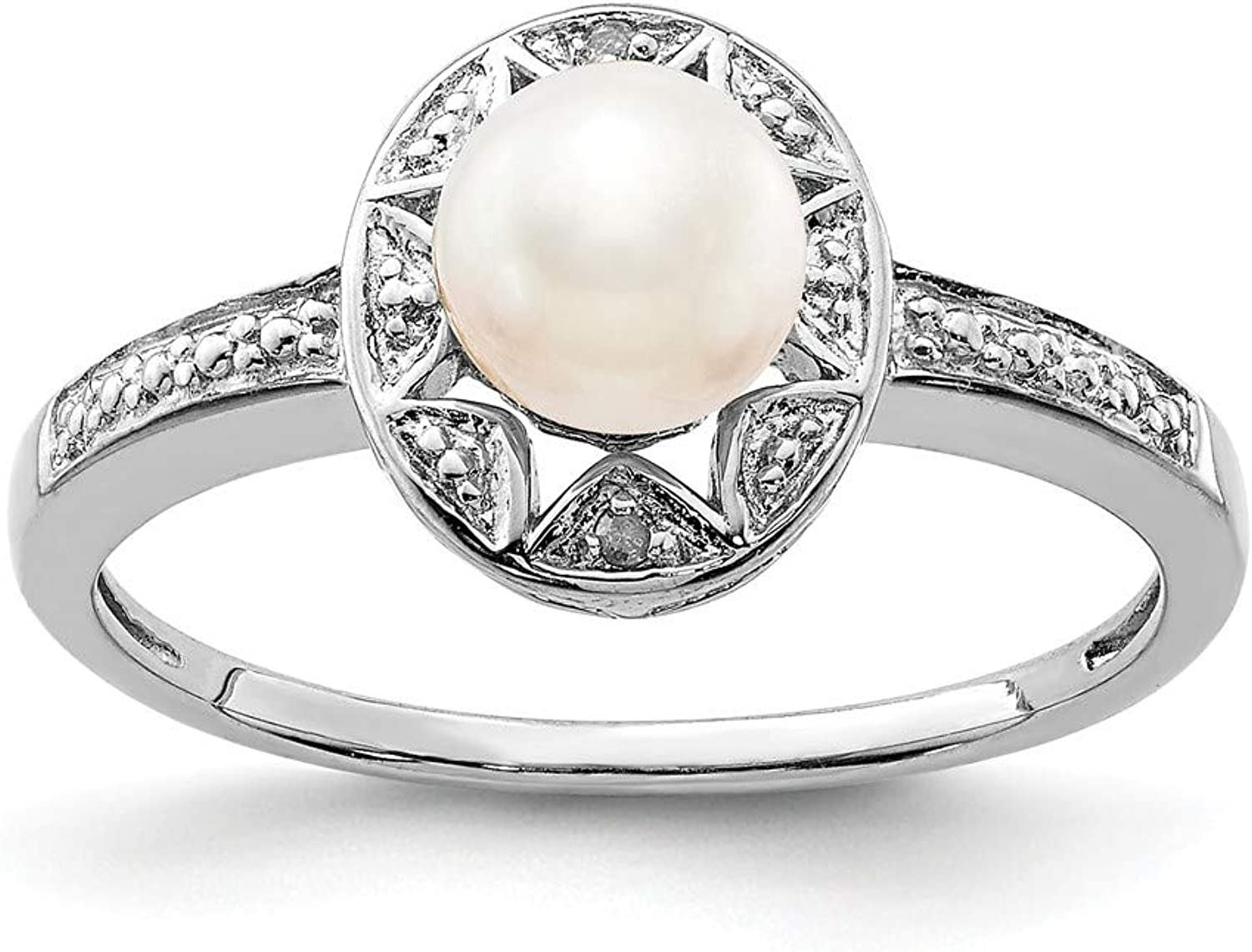 Beautiful Sterling silver 925 sterling Sterling Silver Rhodiumplated Diam. & FW Cultured Pearl Ring