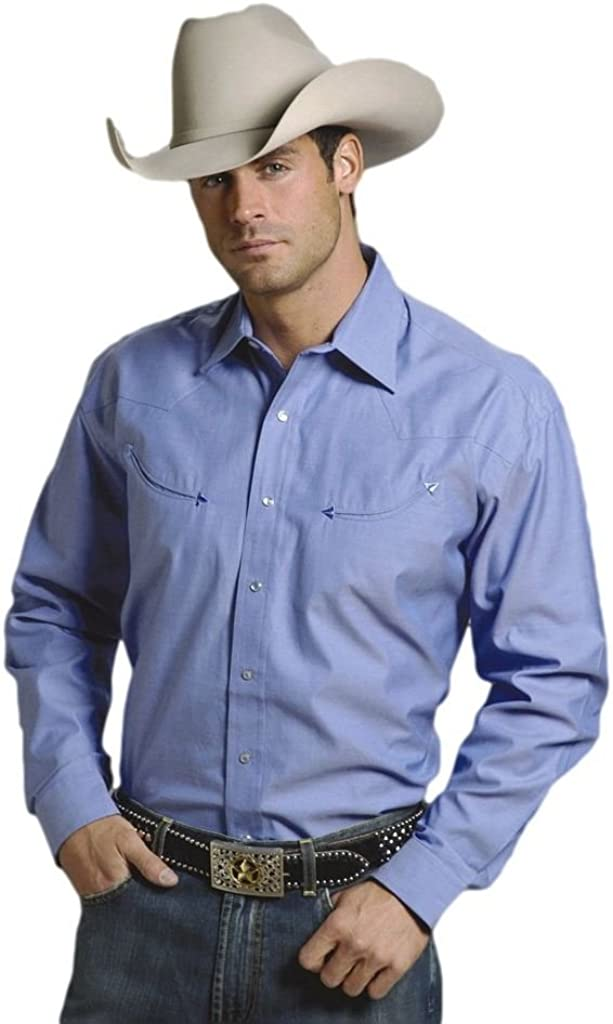 Stetson Western Shirt Mens L/S Snap Blue 11-001-0465-0023 BU