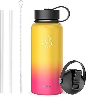 BUZIO Insulated Water Bottle with Straw Lid and Flex Cap, 32oz, 40oz, 64oz, 87oz Modern..