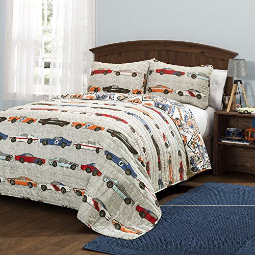 Lush Decor Race Cars 3 Piece Reversible Quilt Bedding Set, Full/Queen, Blue and Orange