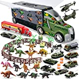 JOYIN Dinosaur Carrier Truck with 12 Dinosaurs and 13 Vehicles Dino Park Pretend Play Toy with Military Vehicle, Tanks, Helicopter, Dinosaur Figures