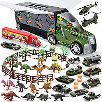 JOYIN Dinosaur Carrier Truck Playset with with Vehicles and Dinosaur Figures (44pcs)