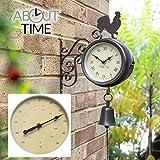 Über Zeit Halterung montiert Hahn und Glocke Garten Outdoor Uhr