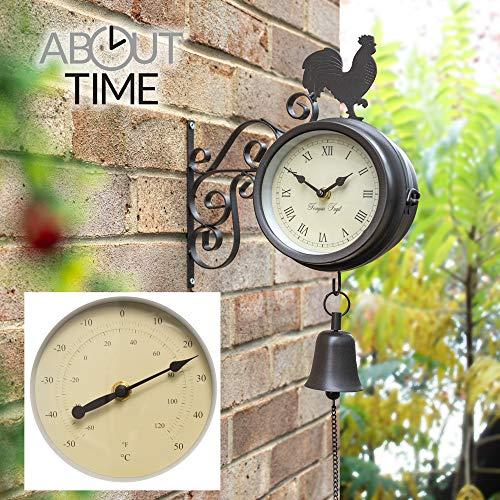 Primrose Horloge et thermomètre d'extérieur montés sur Support et ornés d'un Coq et d'une Cloche – 47 cm