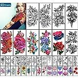 Yazhiji 40 Hojas de Tatuajes Temporales a Prueba de Agua Colección de Flores Grandes Pegatinas de Tatuajes Falsos Duraderos para Mujeres niñas