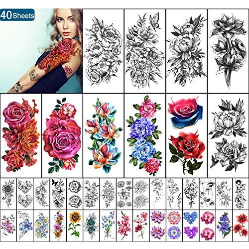 Yazhiji 40 Blatt Wasserdichte temporäre Tattoos Große Blumen Sammlung Dauerhafte gefälschte Tattoo-Aufkleber für Frauen oder Mädchen Schönheitsdekoration