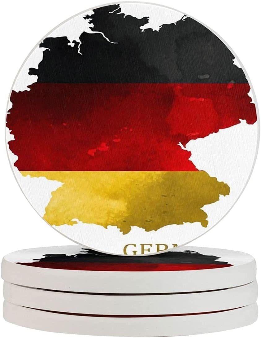 Germany Watercolor Map Print Tea-Cup Four Pieces Fun Coasters Ranking TOP20 of shipfree
