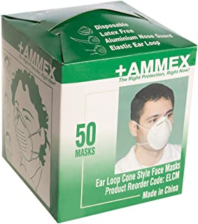 Ammex (50 Pack) Half Face Respirator Mask for Dust Mask Disposable Woodworking Elastic Ear Loop Masks
