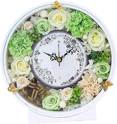 【ラッピング済み】花時計 シック ラグジュアリー ギフト おしゃれ 両親 プレゼント 結婚式 時計 ローズ プリザーブドフラワー アレンジメント 上品 かっこいい 誕生日 プロポーズ お返し お見舞い バタフライ 蝶 Aliceflowe シャンパングリーン