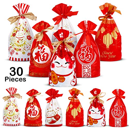 30 Pieces Chinese New Year Drawstring Gift Bags Plastic Treat Candy Pouches Party Gift Favor Bags for Food Gifts Storage Supplies, 6 Styles