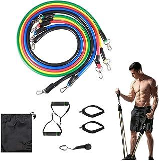 imporTudo Ligas de Resistencia Bandas Ejercicio Fitness Crossfit Yoga Ejercitador Muscular Multifunción Kit 11 Piezas