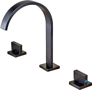 Rozin Widespread 3 Holes Bathroom Sink Faucet Two Handles Basin Mixer Tap Oil-rubbed Bronze