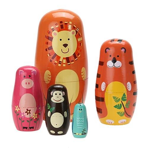 6Pcs Cartoon Animal Wooden Russian Nesting Dolls Matryoshka Stacking Toy Boil
