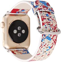 Compatible with Apple Watch Band 42mm 44mm, [Abstract Painting Ink Graffiti] Soft Leather Watch Strap Replacement Wristband Bracelet for Apple Watch Series 4 (44mm) Series 3 Series 2 Series 1 (42mm)