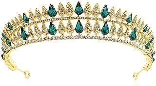 Dongyu Accessori for Capelli Corona, Sposa E Signora Festa Copricapo Festa di Bellezza di Nozze (Color : Green)
