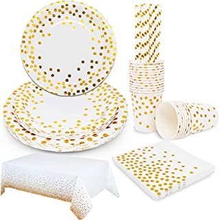 12 GOLD POLKA DOT Large Paper Plates Glam Shabby Chic Gold Dots Dotted Bridal Shower Wedding Birthday Party Designer Gold White 10