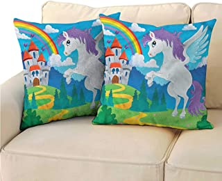 RuppertTextile Kids Customized Pillowcase Unicorn with Rainbow Fairy Suitable for Hair and Skin Health W19 x L19