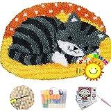 Lishiguli Embroidery kit Teppich Machen Kits Latch Haken Schlafende Katze DIY. Tier-Muster-Teppich-Latch-Haken-Teppich-Kits-Kissen-Stickerei für Kinder, grau, 110cm * 85cm / 43 * 33 in