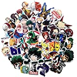Auceo My Hero Academia Anime Laptop Sticker 73pcs Vinyl Skateboard Water Bottle Computer Travel Case Guitar Snowboard Luggage Car Bike Phone Graffiti Decal