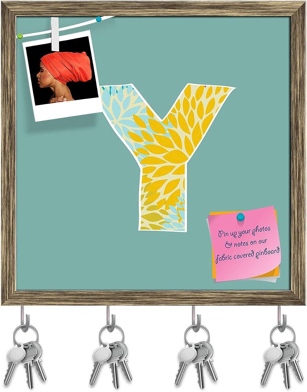 Artzfolio Floral Letter Y Key Holder Hooks   Notice Pin Board   Antique golden Frame 20 X 20Inch