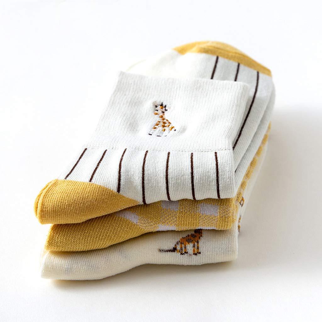 Yanhonin - 3 Pares de Calcetines de algodón con Bordado de Jirafa, Calcetines de Tobillo Suaves para Mujer, Accesorios para Uso Diario: Amazon.es: Hogar