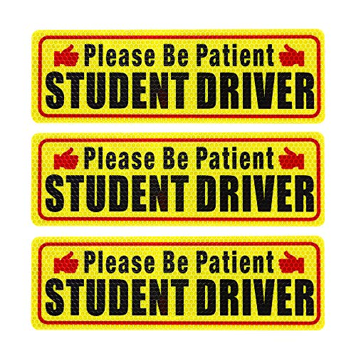Nomiou Student Driver Magnet Safety Sign 3pcs Vehicle Bumper Magnet Car Vehicle Reflective Sign Sticker Bumper for New Drivers