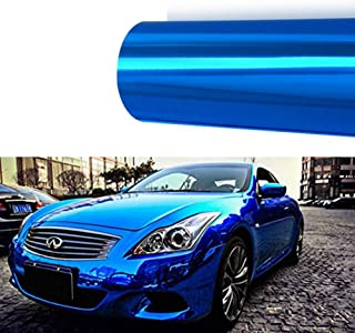 M J-AUTOPARTS Chrome Mirror Vinyl Film Wrap Sticker Decal Stretchable Reflective + Free Cutter, Scissors & Squeegee (10FTX5FT / 120