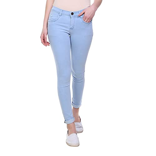 Women/'s Ladies Knee Cut Beaded Pockets Skinny Slim Fit Girls Light Blue Jeans