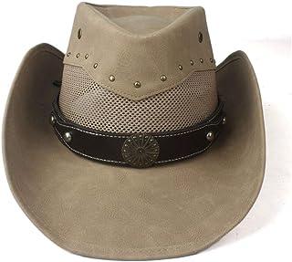 2019 Women Womens Summer Leather Retro Hat for Women Mesh Western Cowboy Hat Wide Brim Hat Outdoor Sombrero Hombre Cowgirl Hat Punk Belt Casual Ladies Fashion (Color : Khaki, Size : 58-59cm)