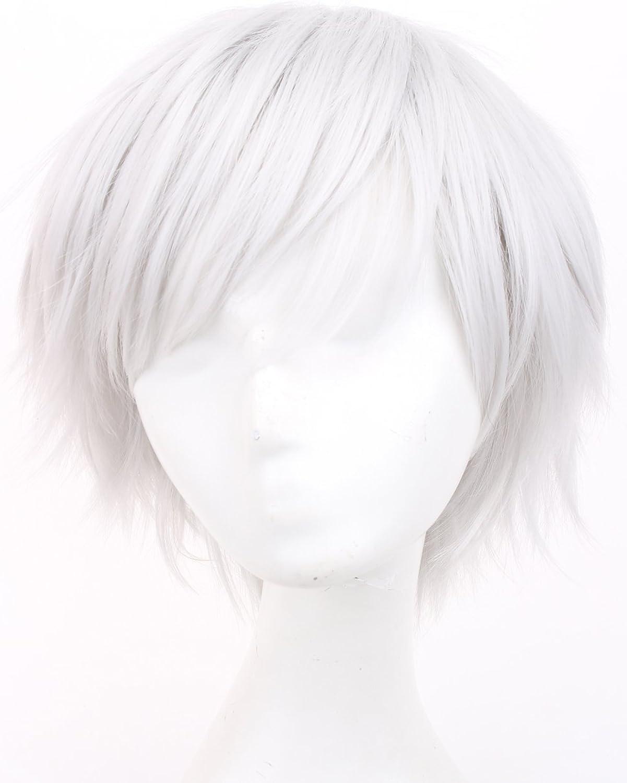 Simpleyourstyle Anime Cosplay Wigs Weiß rot schwarz braun Short Heat Resistant Synthetic Full Wigs for Men 30cm 11.8inch 150g (Silbery Weiß) by Anime cosplay wigs B00UJUYE3K Am wirtschaftlichsten  | Lebhaft