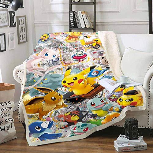 LIFUQING Mehrzweckdecke Pokemon Pikachu Mehrzweckdecke Adult Fashion Quilt Camping Weiche Decke Kinder-130X150Cm