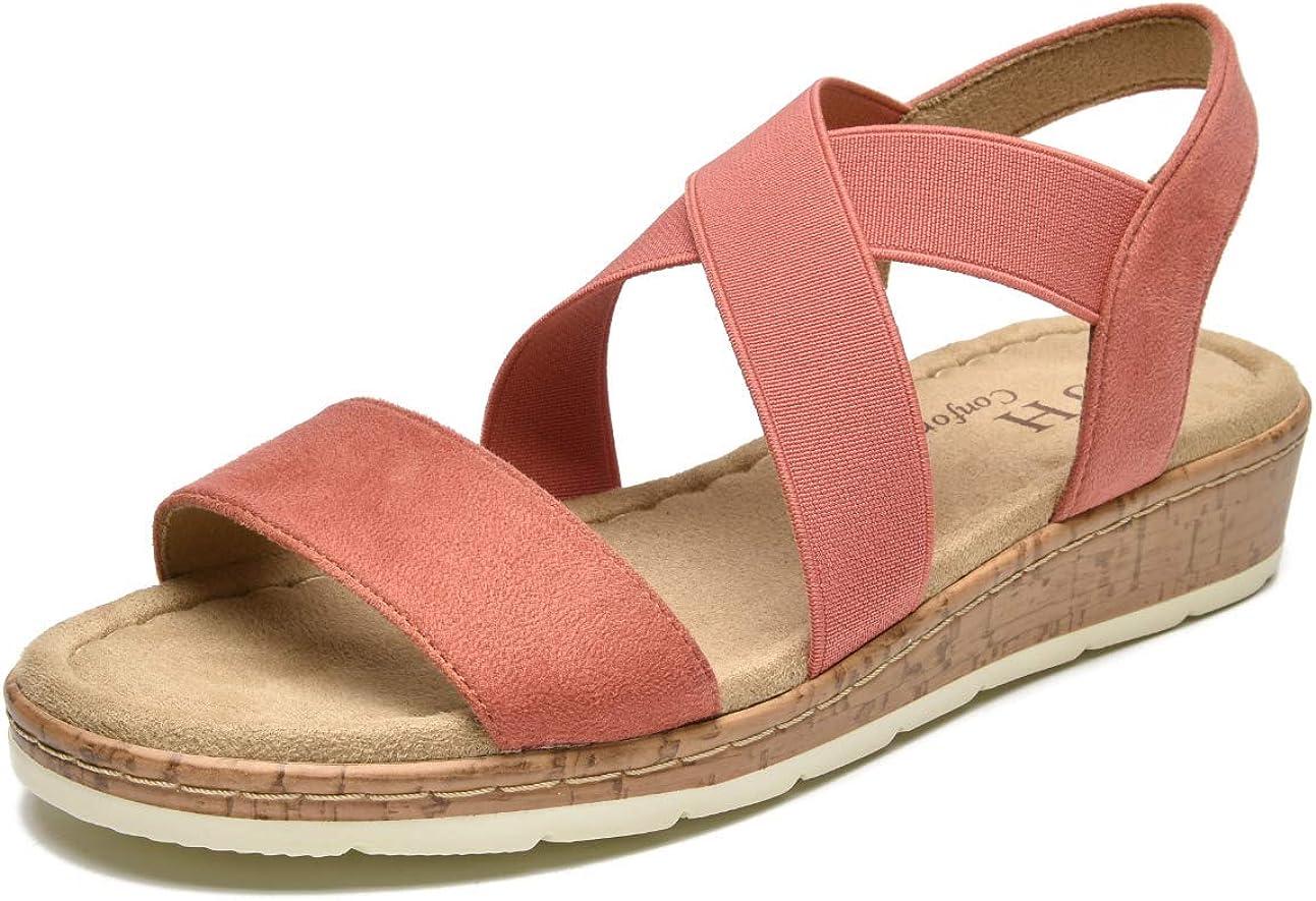 VJH confort Women's Flat sandals, Comfort Slip-on Elastic ankle