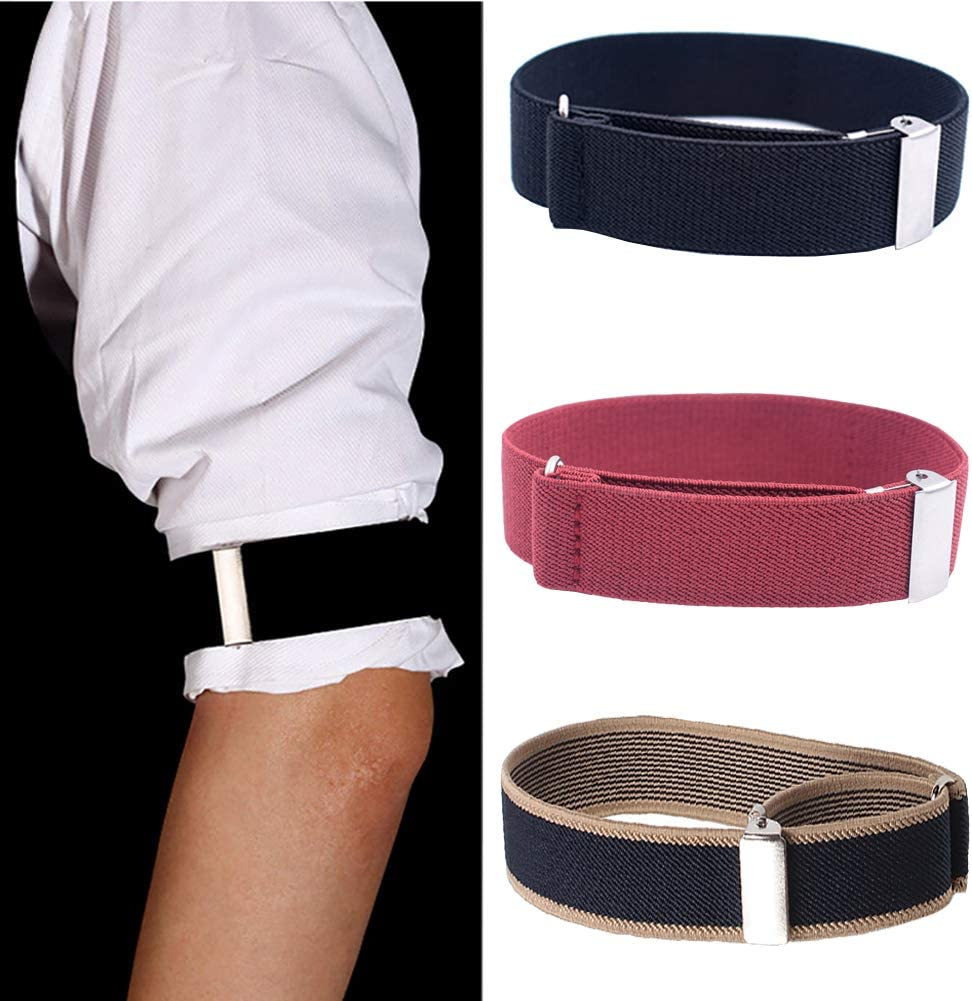GSHLLO 3 Pairs Elastic Adjustable Shirt Sleeve Holder Shirt Armbands Sleeve Garters for Mens