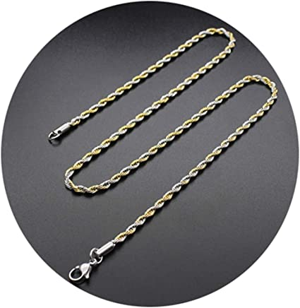Epinki Stainless Steel Chain Necklace for Men and Women Gold Twisted Chain Punk Chain Men Necklace