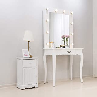 Mecor Vanity Table with Lighted Mirror,Makeup Table with Drawer Wood Dressing Table Girls Women Bedroom Furniture White